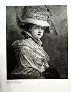 Antique-Print-Miss-Cumberland-Painted-George-Romney-Engraved-Jr-Smith-1912-20th