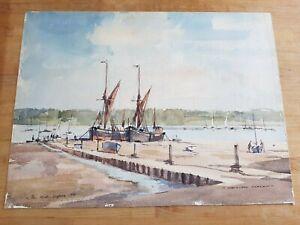 Original-Painting-David-Green-Watercolour-Pin-Mill-Suffolk-1970-Art-Signed-r5P0