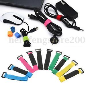 10pcs-Nylon-Self-stick-Hook-Loop-Strap-Tie-Down-Wrap-USB-Cable-Cord-Organiser