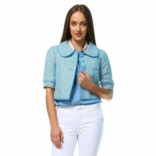 Chic Cute Teal Button up 3//4 Sleeve Fashion Casual Tulle Crop Jacket