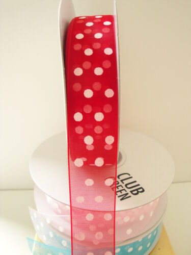 TO CLEAR 3 Metres Dotty Organza 23mm Ribbon in 7 Colour Choices