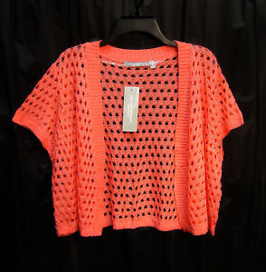CORAL-OPEN-FRONT-WEAVE-KNIT-CROCHET-CROP-CARDIGAN-JACKET-SWEATER-SHRUG-TOP-1X-NW