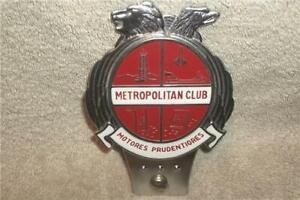 VINTAGE NASH METROPOLITAN CLUB MOTORES PRUDENTIORES GRILL BADGE LICENSE TOPPER