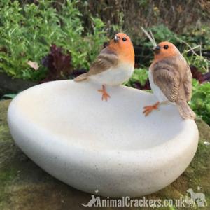 Amical Robin Bird Bath/feeder Vieilli Effet Pierre Bol Idéal Jardin Oiseau Robin Amant Cadeau-afficher Le Titre D'origine Rendre Les Choses Pratiques Pour Les Clients