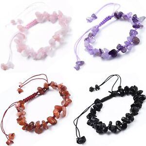 Crystal Gemstone Bracelet Chakra Bead Natural Stones Reiki Jewellery Gift Womens