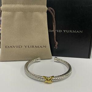 "David Yurman Gold ""X"" 5mm 925 Sterling silver Cable Cuff Bracelet"