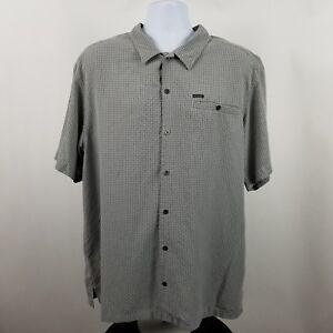 Columbia-Mens-Gray-Check-S-S-Casual-Button-Shirt-Sz-XL