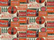 Fat Quarter Coca Cola Montage Vintage Labels 100% Cotton Quilting Fabric