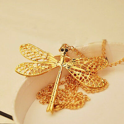 Women Gold Plated Hollow Dragonfly Long Chain Sweater Pendant Fashion Necklace