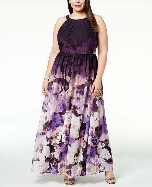 BETSY & ADAM damen lila FLORAL-PRINT LONG GOWN PETITE DRESS Größe 10P