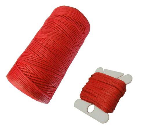Wachsband 1 mm Sattlergarn geflochtet 100/% polyester truites fil rouge c305