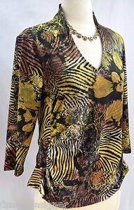 Boho-Brand-knit-top-blouse-shirt-sexy-slinky-jersey-Gold-Tan-tiger-SZ-L-VTG