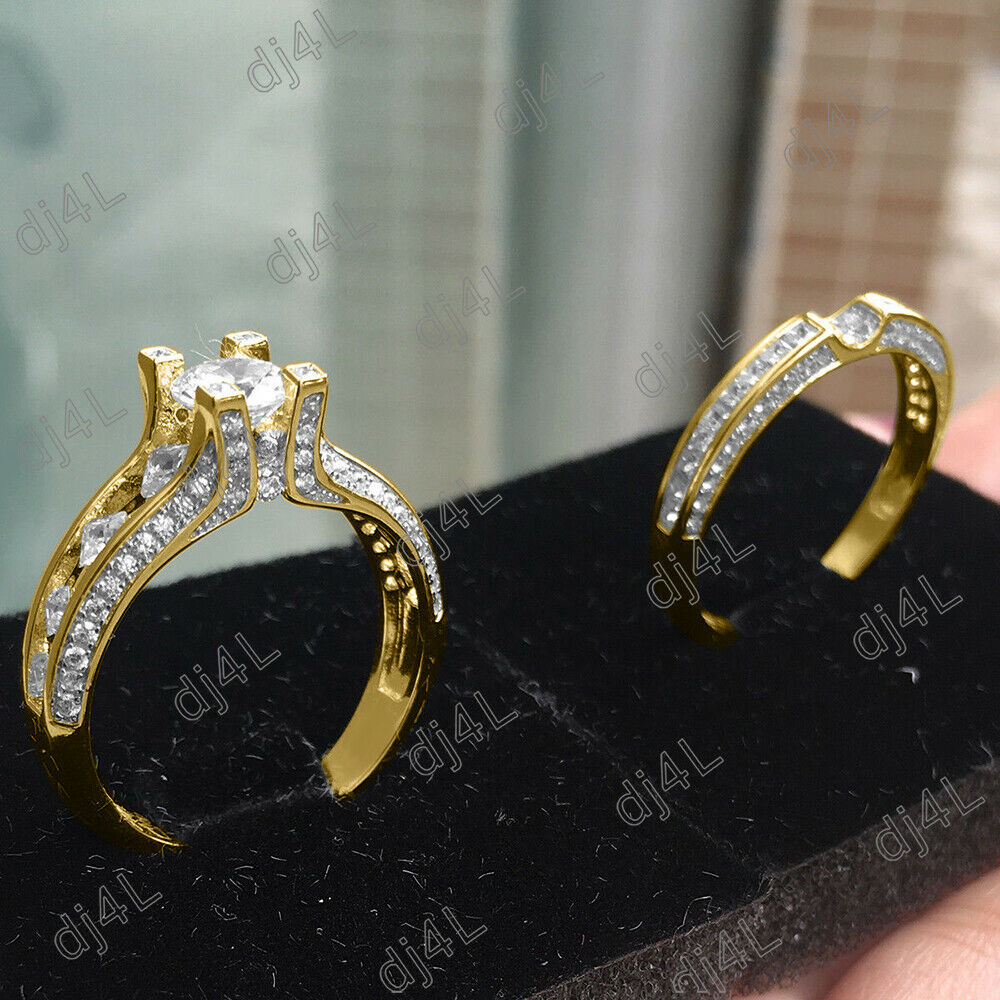 Real 10k Yellow gold 2.95 Ct Round Cut DVVS1 Diamond Engagement Wedding Ring Set
