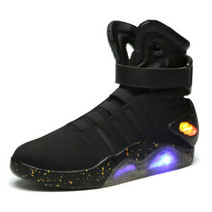 2020-Fashion-Men-039-s-Running-Shoes-LED-High-Top-Black-Lace-Up-Basketball-Shoes-New