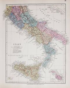 Stanford S 1889 Hand Coloured Map South Italy Sicily Malta Rome