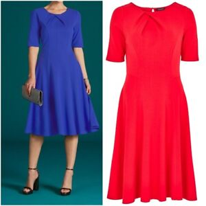 NEW-BM-Ladies-RED-BLUE-Ponte-Short-Sleeve-FIT-and-FLARE-Dress-Size-10-24