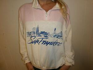 Vintage Années 80 90 San Francisco Pull Femmes Câble Voiture Skyline Doré Gate