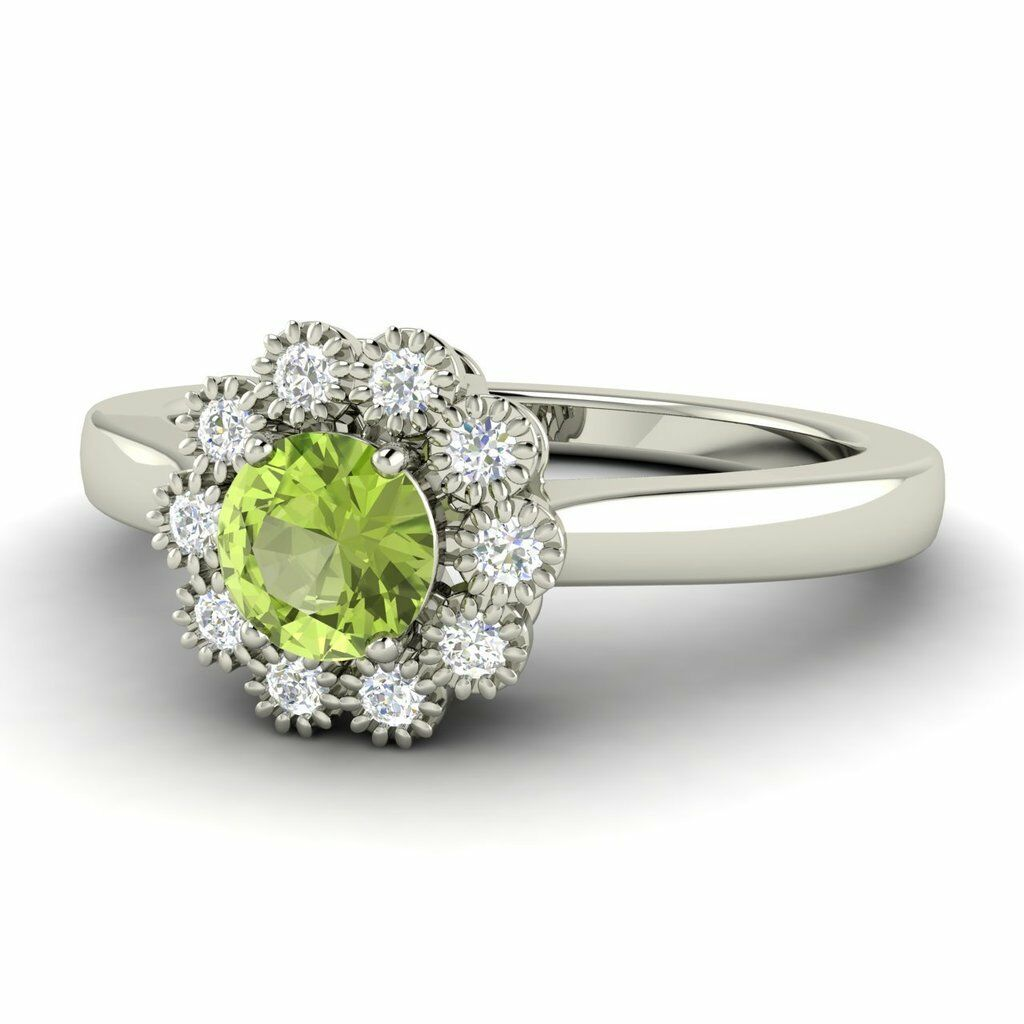 0.56 Ctw Certified Peridot & SI Diamond 14k gold Halo Cluster Engagement Ring