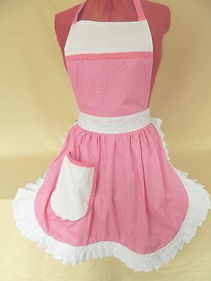 Pink /& White Polka Dot with White Trim Retro Vintage 50s Style Half Apron  Pinny
