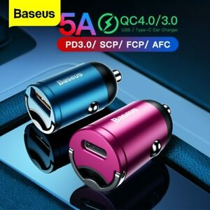 Baseus Mini Car Charger Adapter USB Type C 30W Quick Charge for iPhone Samsung