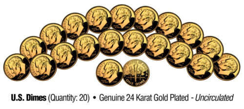 Lot of 20 UNCIRCULATED 24K GOLD PLATED U.S.MINT DIMES