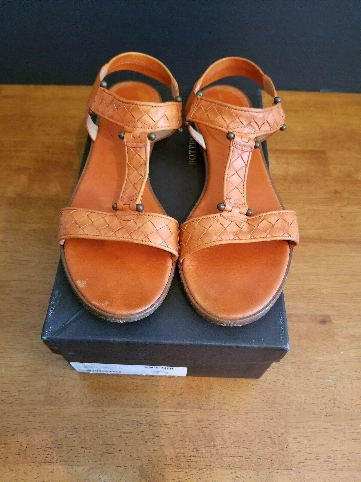 Bottega VENETA Intrecciato Cuero Marrón Zapatos Sandalias planas tamaño 8 - 8.5 Excelente