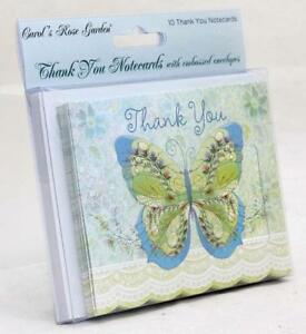 Carol Wilson Fine Arts Thank You Cards 10 Embossed Forget Me Not Purple Teal