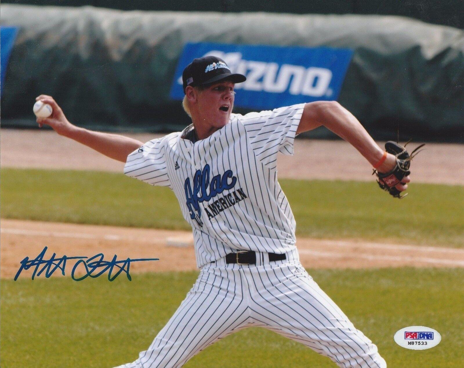 Mat Latos Signed Baseball 8x10 Photo *Aflac Game PSA M87533