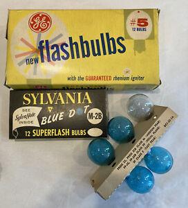 Vintage Mixed Lot Flashbulbs GE #5 Sylvania Blue Dot M-2B