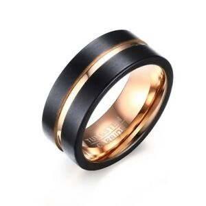 8mm Black Tungsten Steel Carbide Ring Men S 18k Rose Gold Wedding