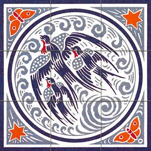 Mural ceramic tiles art nouveau backsplash tile 512 ebay for Art nouveau mural