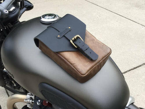 Triumph BMW Cafe Racer Leather Motorcycle Tank Pouch Tobacco Brown Black Red
