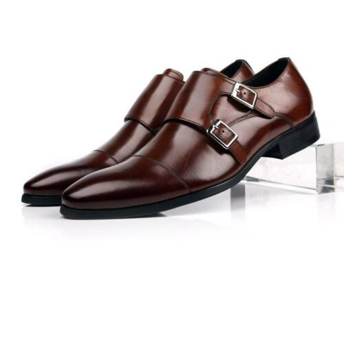2017 Mens Leather Double Monk Strap Dress Formal Shoes Vintage Brogue Business by Unbranded