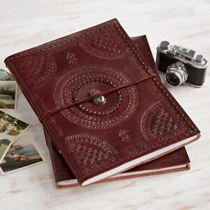 Indra Fair Trade XL Stoned Embossed & Stitched Leather Photo Album 2nd Quality