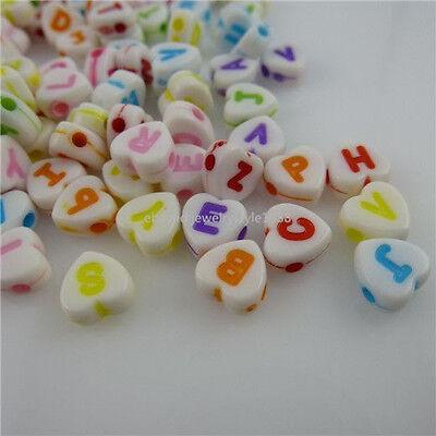 11794 7mm 300PCS MIXED Mini Heart Letter Alphabet Loose Bead Spacer Bead