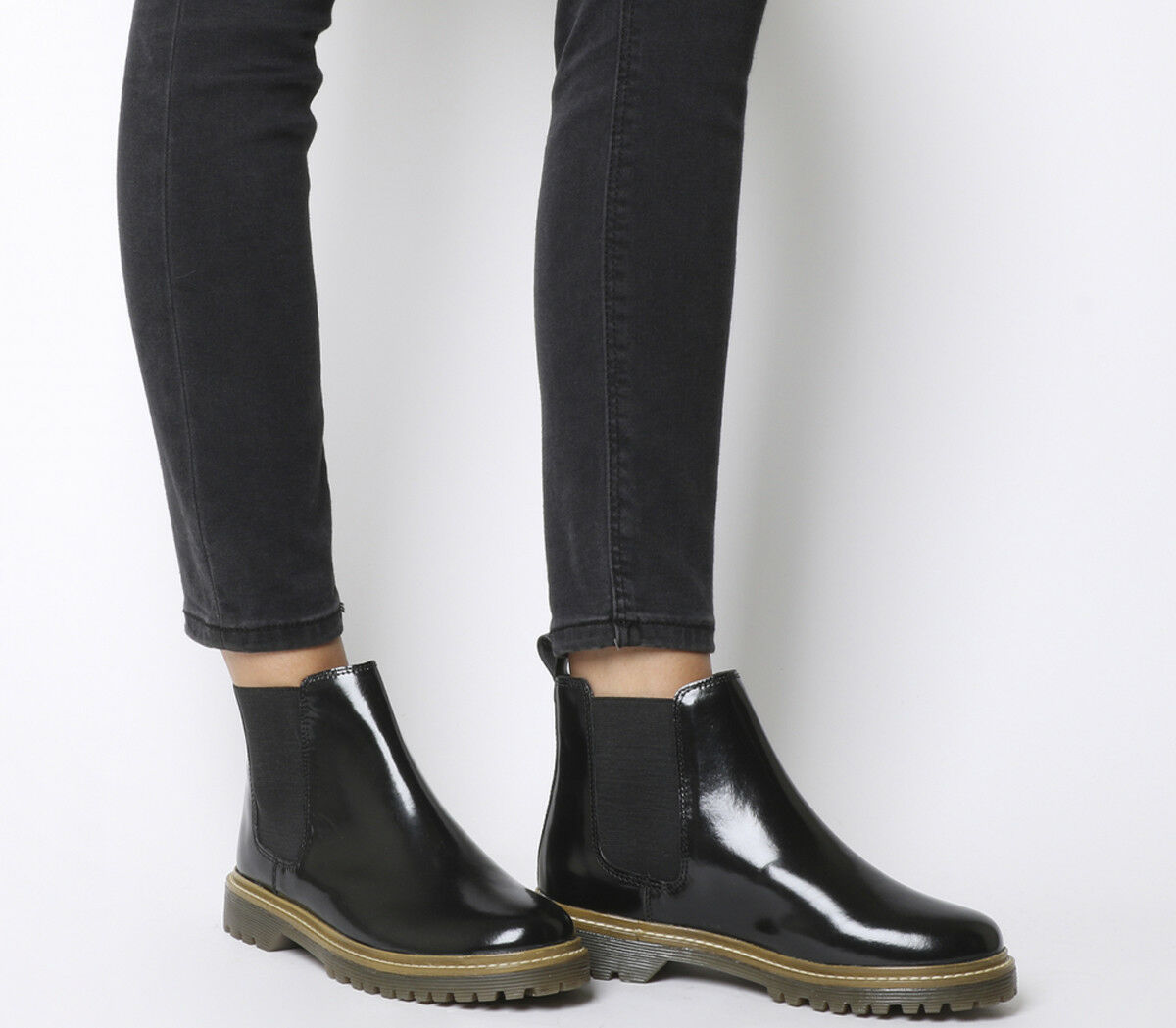 Womens Office Ali Chelsea Boots BLACK HIGH SHINE LEATHER Boots