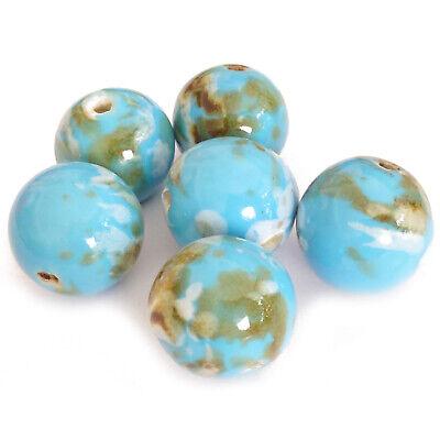 10 Porcelaine Perles environ environ 18 mm bleu marbré à la main Nenad-Design an185