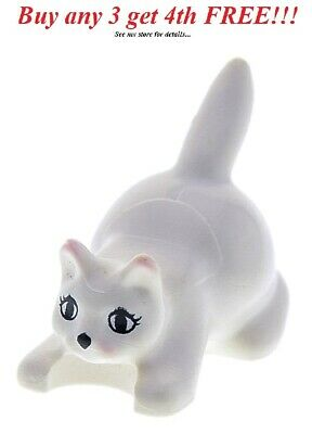LEGO Minifigur Animal Pet Cat Standing with Green Eyes NEW Lt Gray MINIFIG