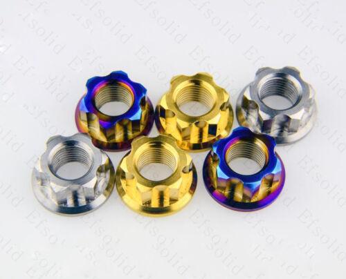 1pcs M10 M12 M14 titanium motorcycle nut Ti alloy motor flange rear axle nuts