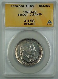 1926-Sesqui-Commemorative-Silver-Half-Dollar-Coin-ANACS-AU-58-Detail-Cleaned