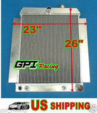 "2 Row Universal Aluminum Radiator Griffin Hot Rat Rod Ford Chevy Dodge 26""×23"""