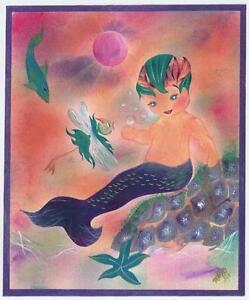 MERMAID MERMAN BOY CHILD HAND COLORED STARFISH DRAGONFLY FISH PURPLE ART PRINT