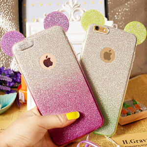 designer fashion e0dee 6e4e7 Details about 3D Mickey Minnie Mouse Ears Silicone Glitter Gradient Case  for iPhone 6 6Plus