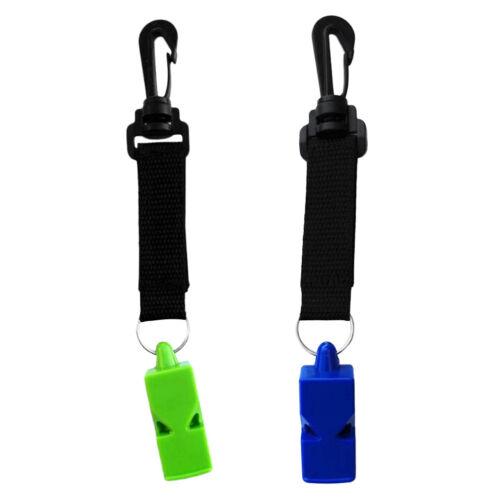 2Pcs Ultra Loud Emergency Scuba Diving Survival Whistle w// Snap Clip /& Strap