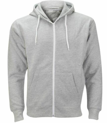 Mens plaine à capuche Zipup Fleece Sweatshirt à Capuche Chaud Veste Pull Top UK S-5XL