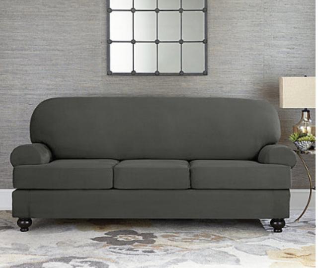 Taupe Individual Cushion Sofa Slipcover