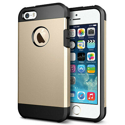 Brand New 2 in 1 Black+Gold Rugged Protective Cover Case For Apple iPhone 5 5S