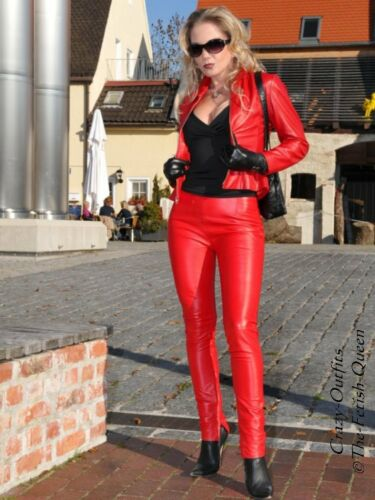 Pantaloni Chiusura posteriore in su misura pelle pelle in Pantaloni rossa Knalleng grRxgq