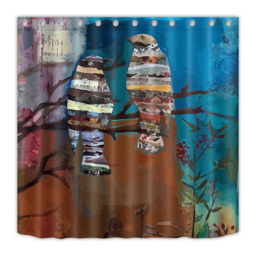 Hand Drawn Watercolor Birds Waterproof Fabric Shower Curtain Hooks Bathroom Mat