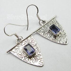 925-Silver-Jewelry-ANCIENT-STYLE-CUT-IOLITE-PIERCED-Beautiful-Earrings-1-5-034